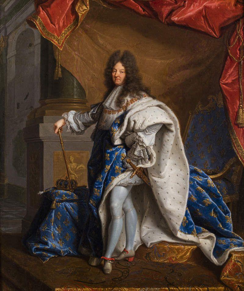 Hyacinthe Rigaud (?) et atelier, portrait de Louis XIV en grand costume Royal, v. 1701. Coll. priv. © Leclere svv