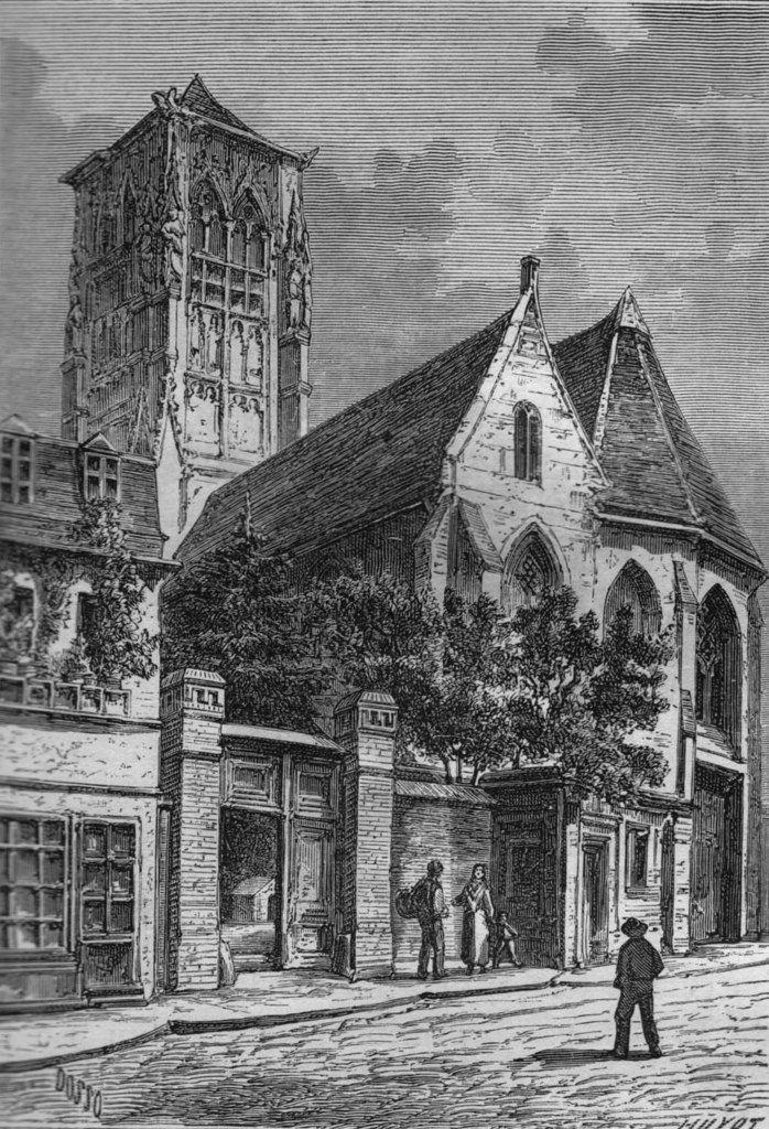 Rouen, église Saint-Pierre du Châtel. Dessinné et gravé par Dosso d'après croquis de A. Marguery. Coll. priv. © Stéphan Perreau