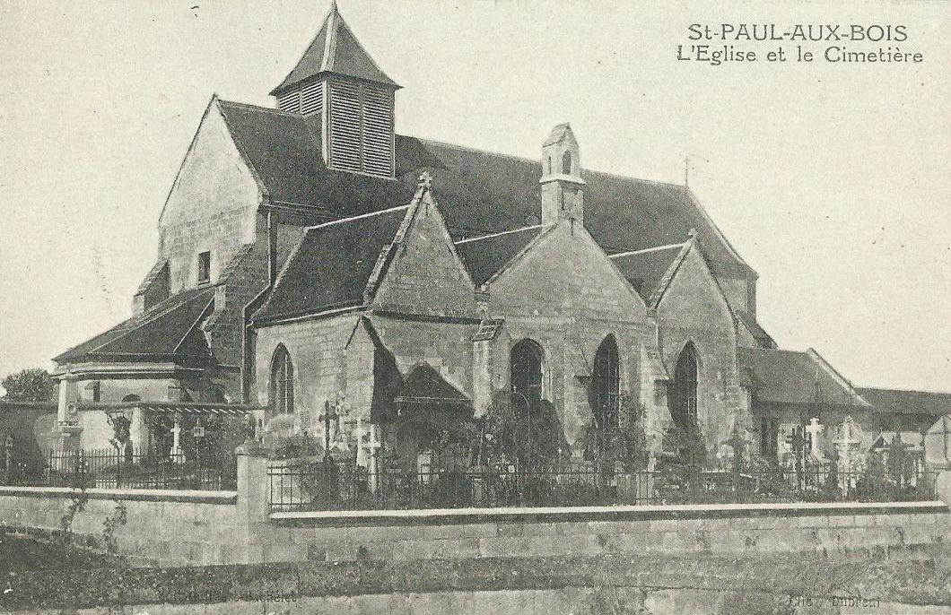 L'église de Saint-Paul-aux-Bois restaurée, après la guerre.