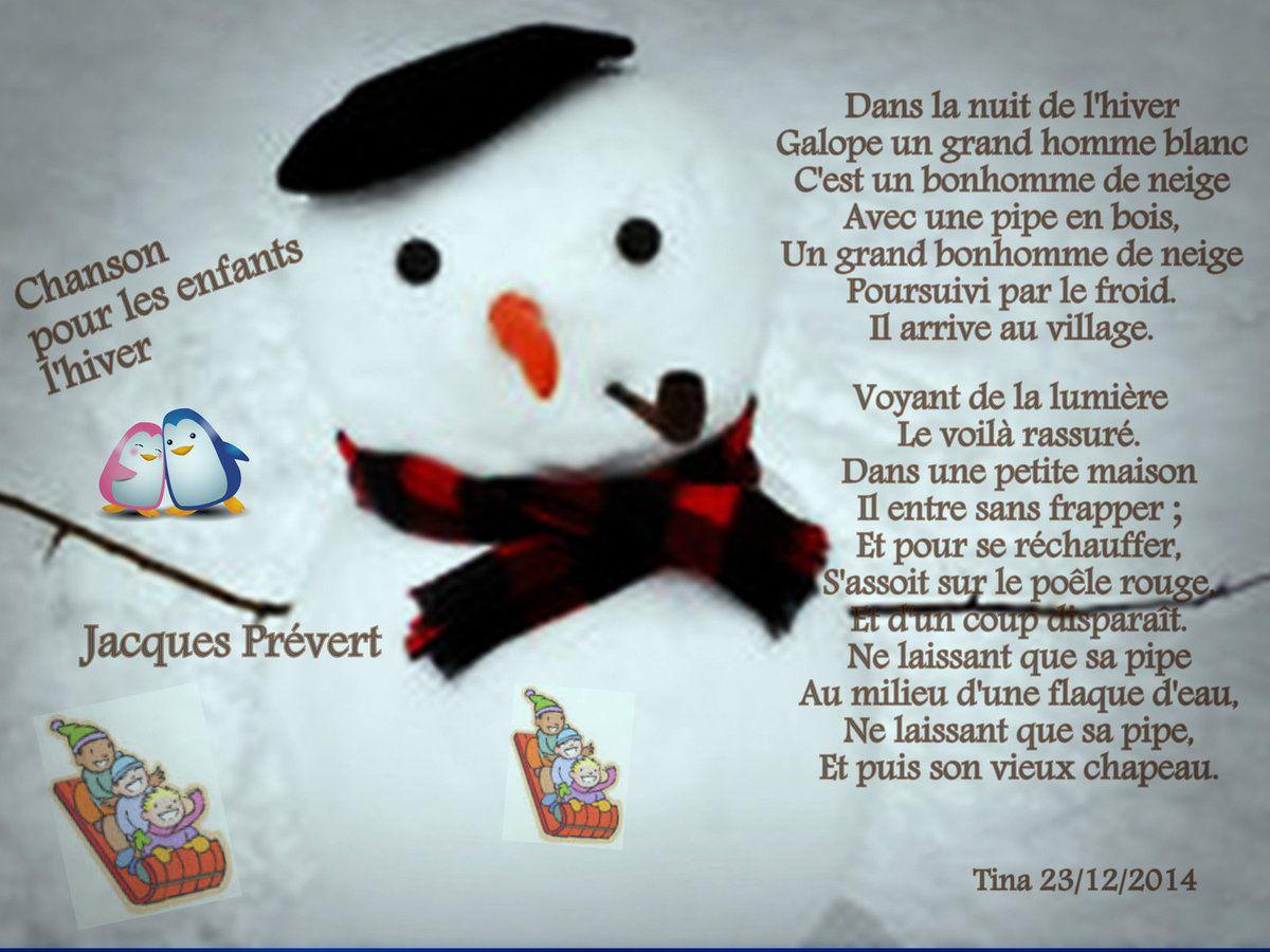Chanson pour les enfants l'hiver  Jacques Prévert