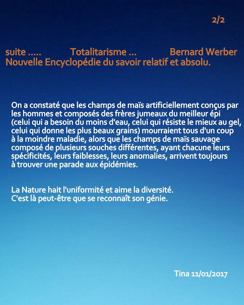 TOTALITARISME - article de Bernard WERBER -