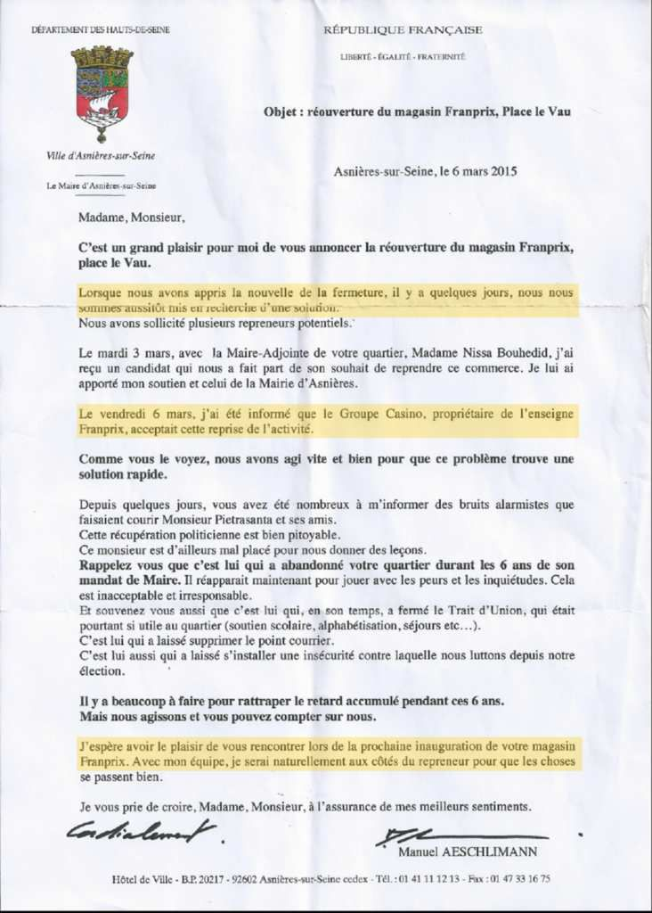 #ASNIERES et sa communication: le courrier du maire
