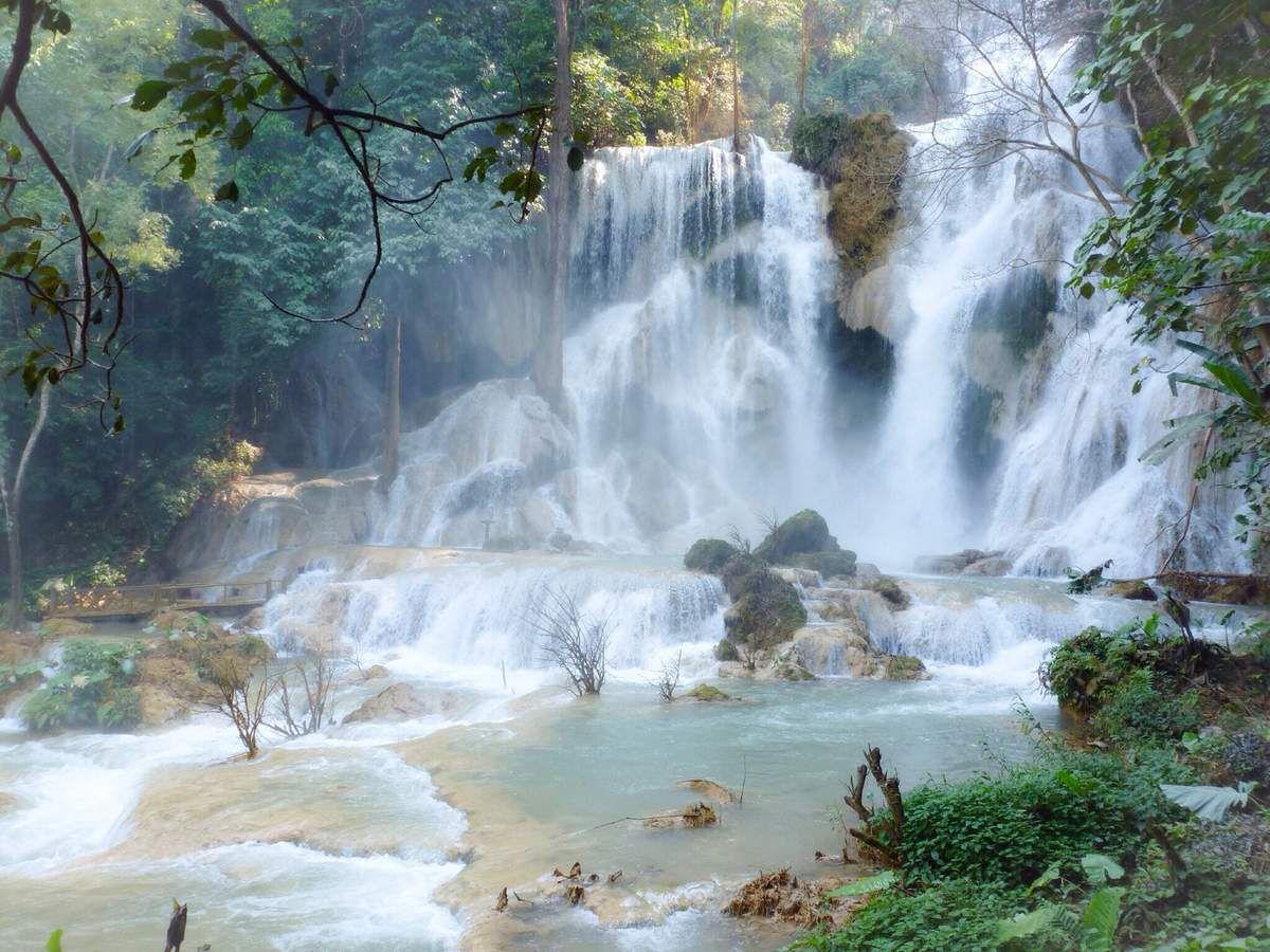 Balade aux chutes de Tat Sae et de Tat Kuang Si, on cherche les endroits frais ! Le parc forestier de Tat Kuang Si est aussi un centre de protection des ours.