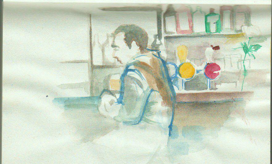L'ami Rodolphe collègue dessinateur et l'Union, bar à la mouette empaillée du parvis de Saint-Gilles