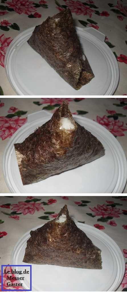 Les onigiris du commerce ont souvent une forme pyramidale : je m'en suis donc inspirée.