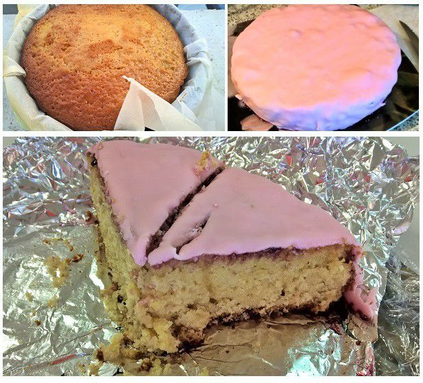 Gâteau à peine sorti du four, gâteau recouvert de pâte à sucre et, pour finir, l'intérieur du gâteau !