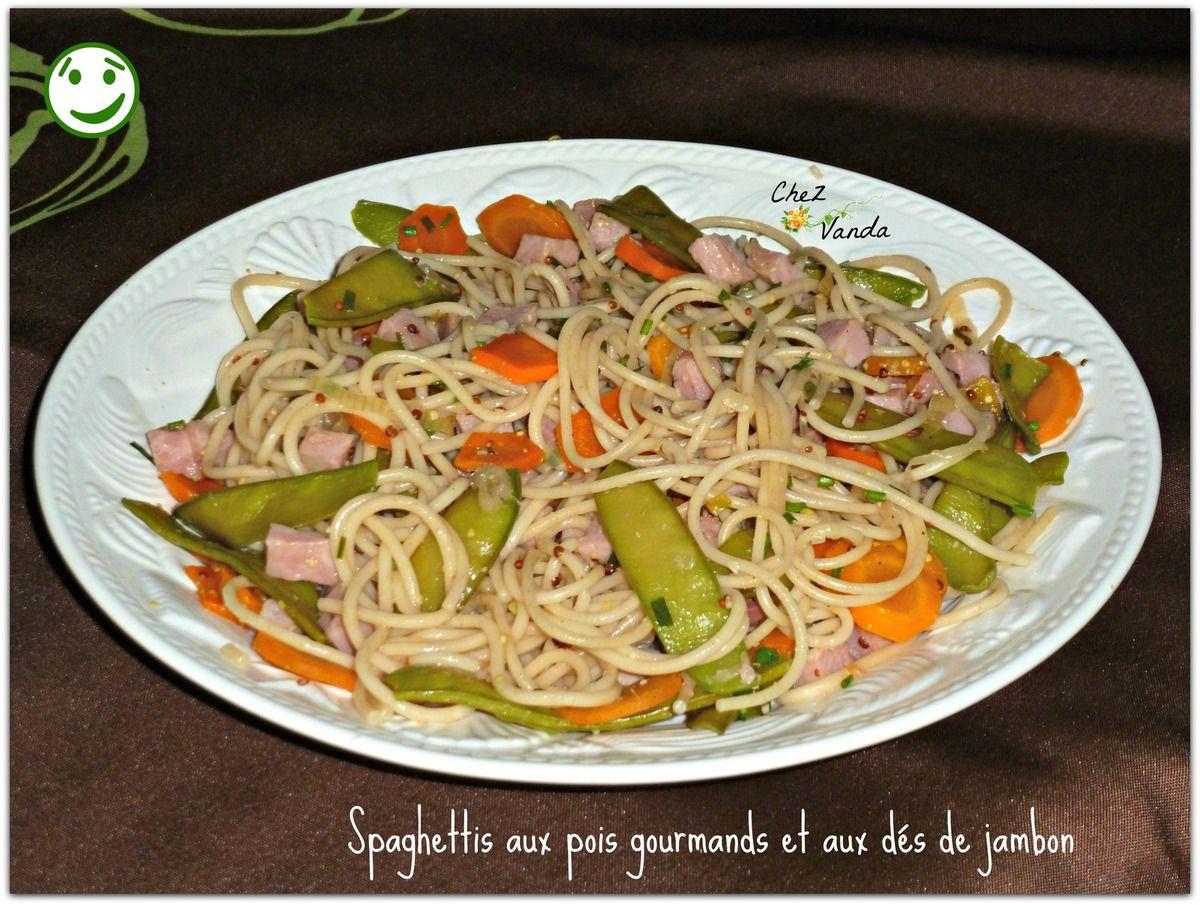 Spaghettis aux pois gourmands et aux dés de jambon