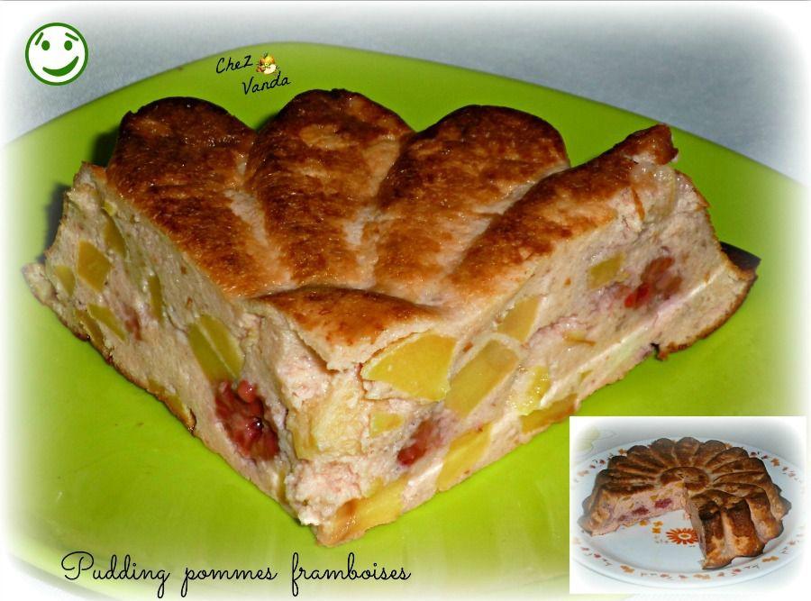 Pudding pommes framboises