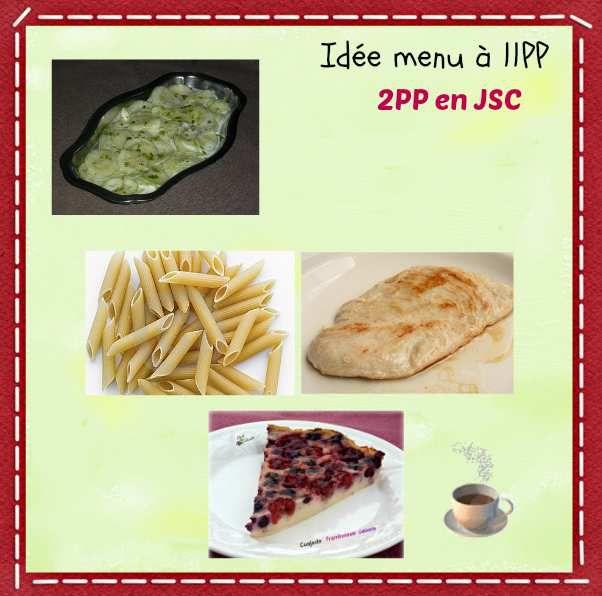 Menu du déjeuner du jour  à 11PP