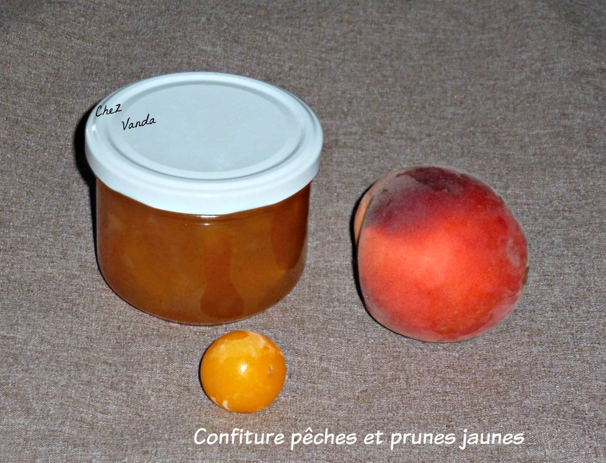 Confiture pêches et prunes jaunes