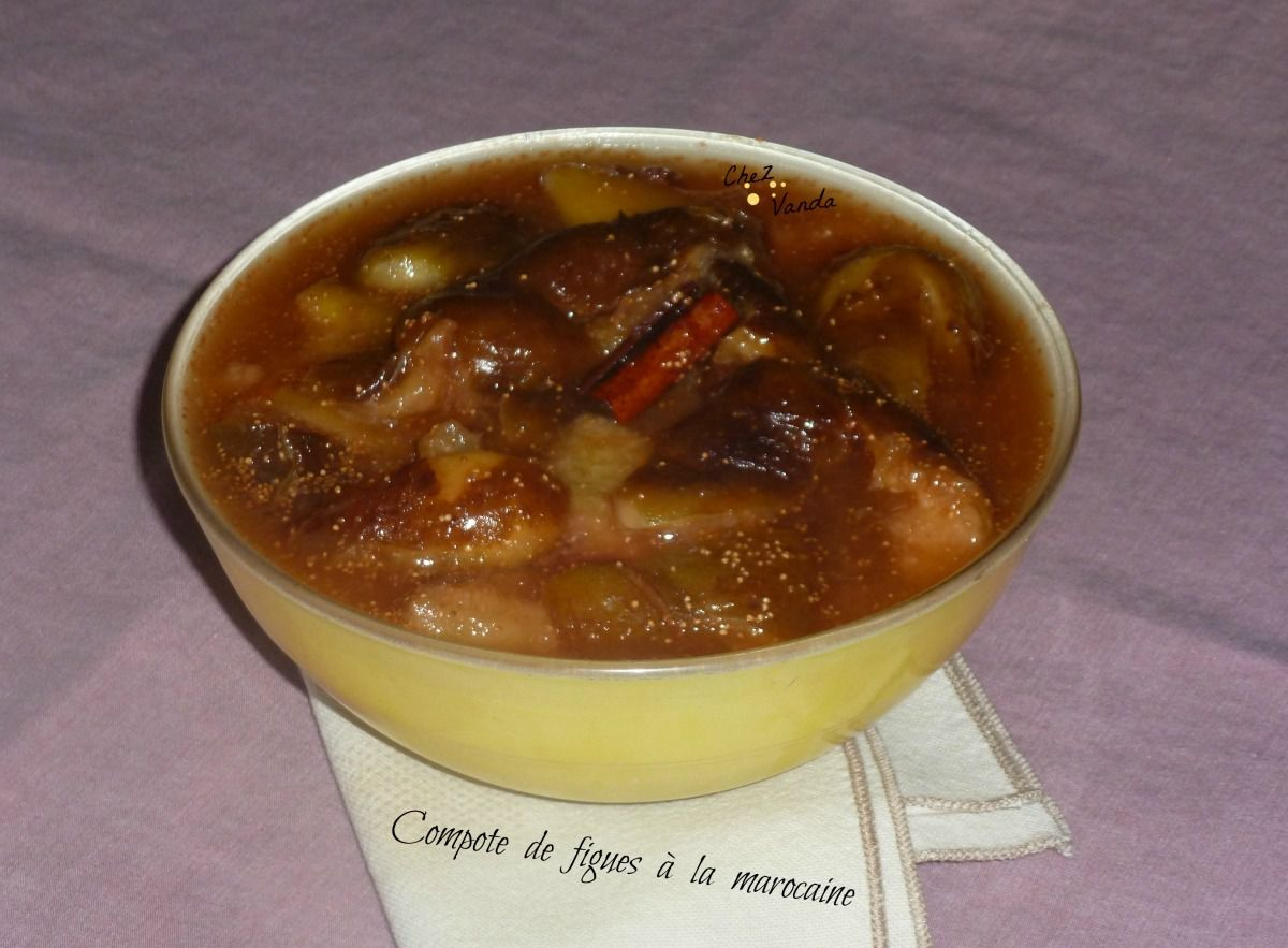 Compote de figues à la marocaine sur lit de fromage blanc