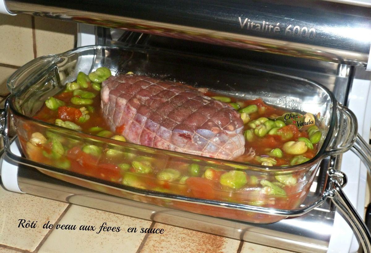 Rôti de veau aux fèves en sauce