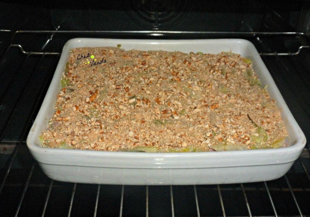 Gratin de poireaux ,blé et jambon