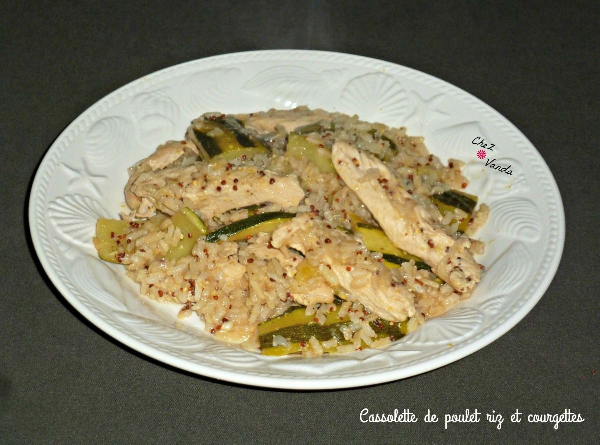 Cassolette de poulet riz et courgettes