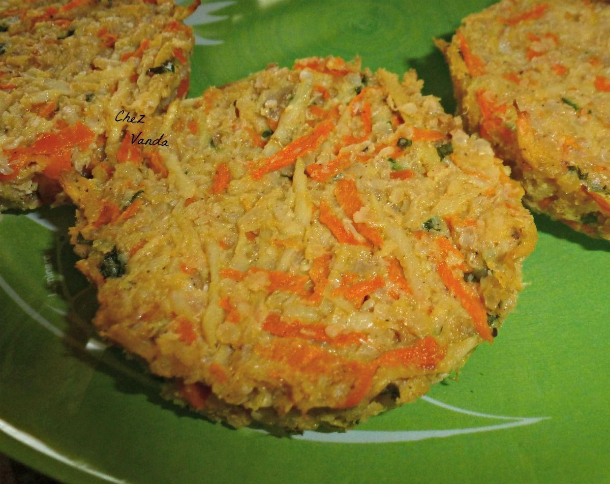 Galettes de panais et carottes aux flocons de  quinoa (2 versions )