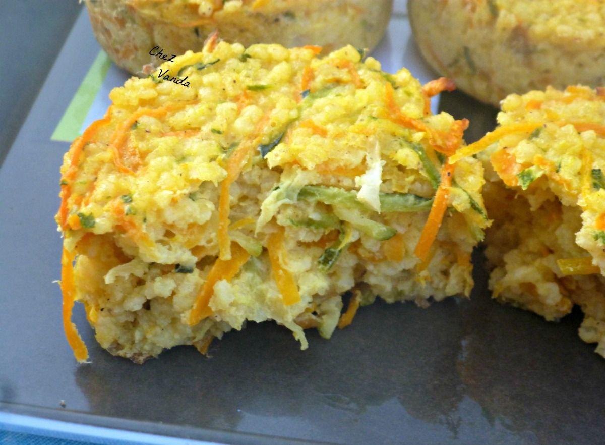 Palets de courgettes et de carottes au millet