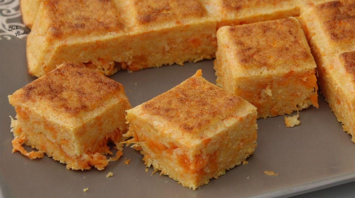 Carrés orange  à la  polenta
