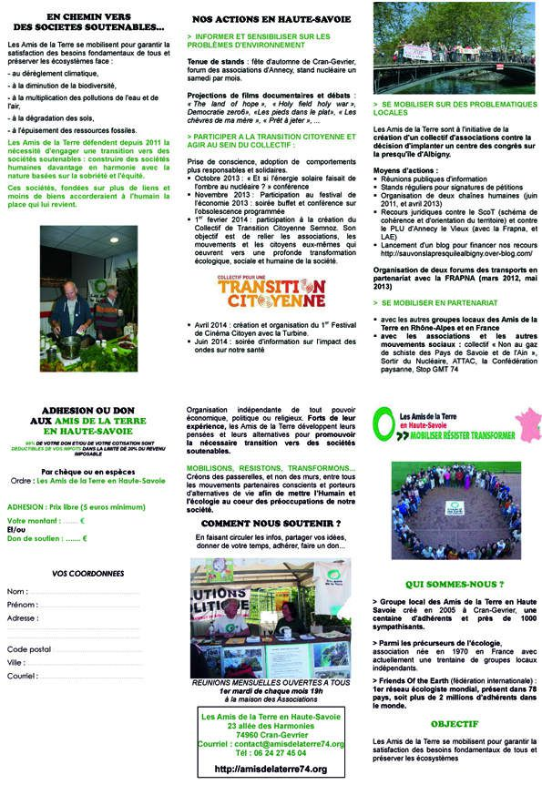 Brochure 2014 des AT74