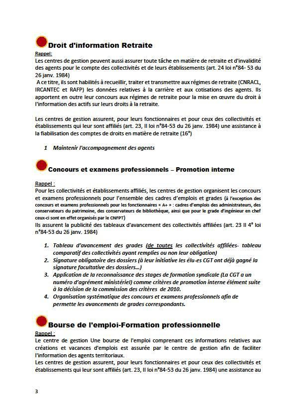 Cahier Revendicatif des Agents des Collectivités Affiliées au Centre Départemental de Gestion