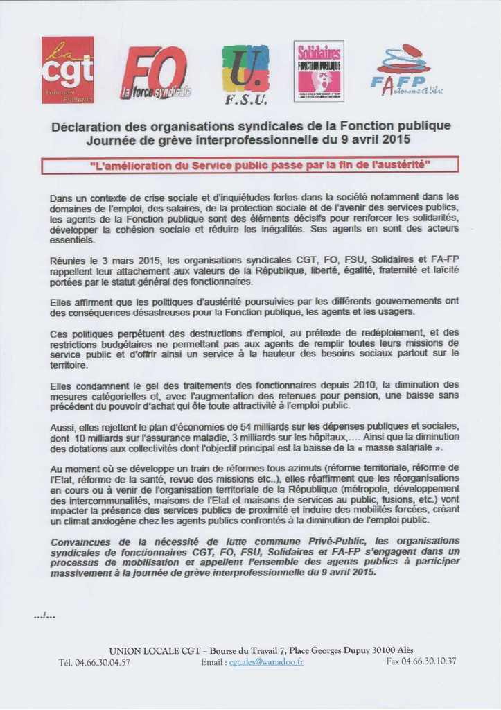 Le 9 Avril on dit non à la Loi Macron et à l'Austérité