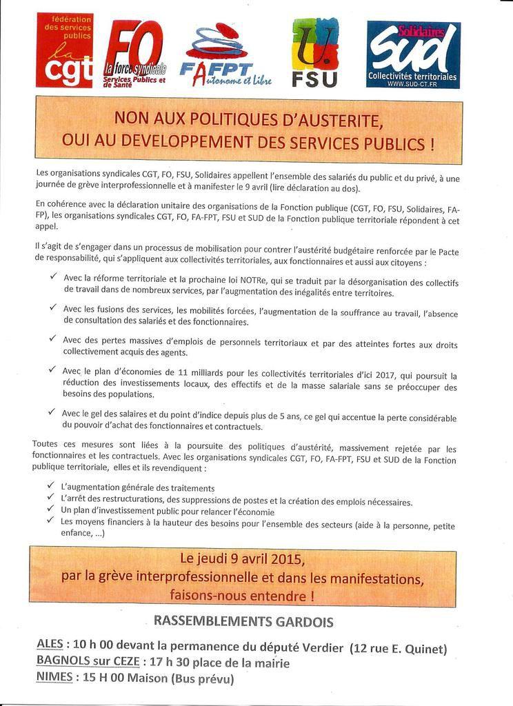 Le 9 Avril on dit Non à Macron et à l'Austérité