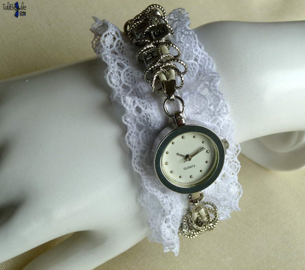 Bracelet montre romantique en dentelle fine