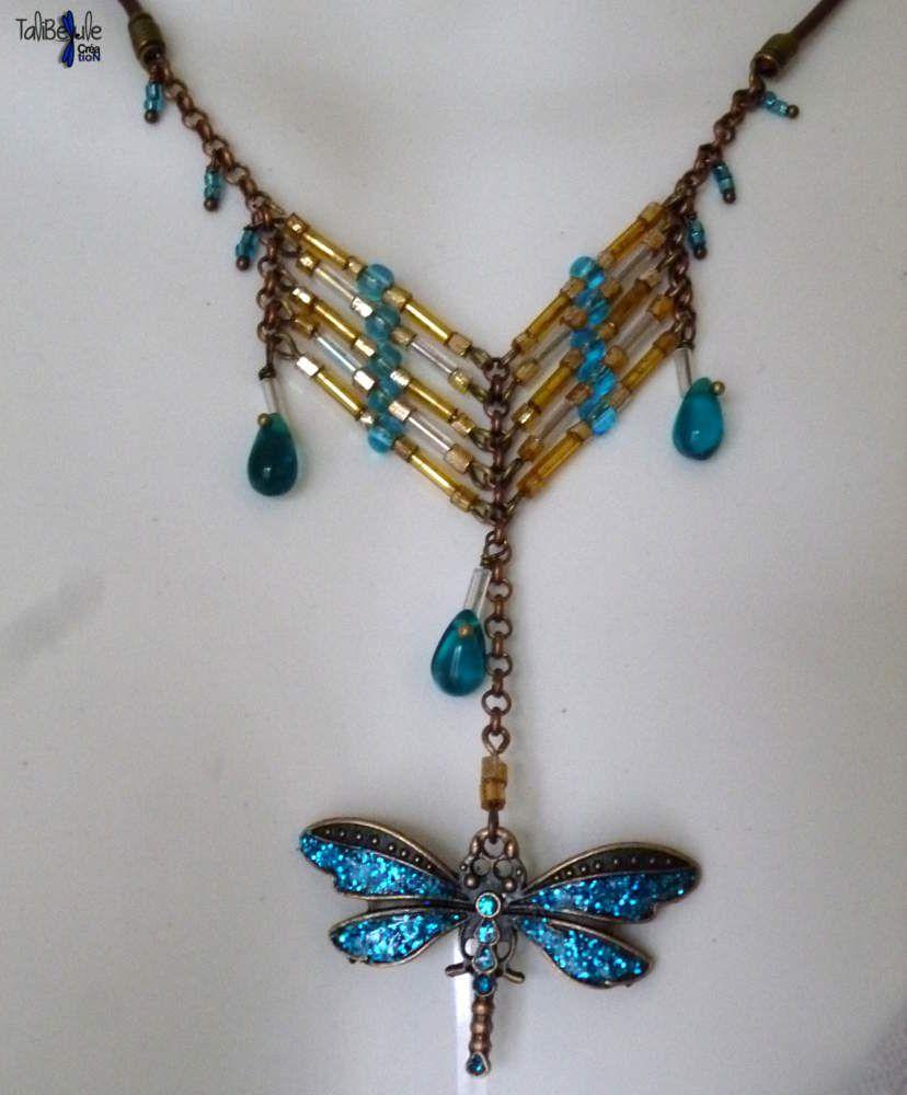 Sublime collier amérindien libellule turquoise