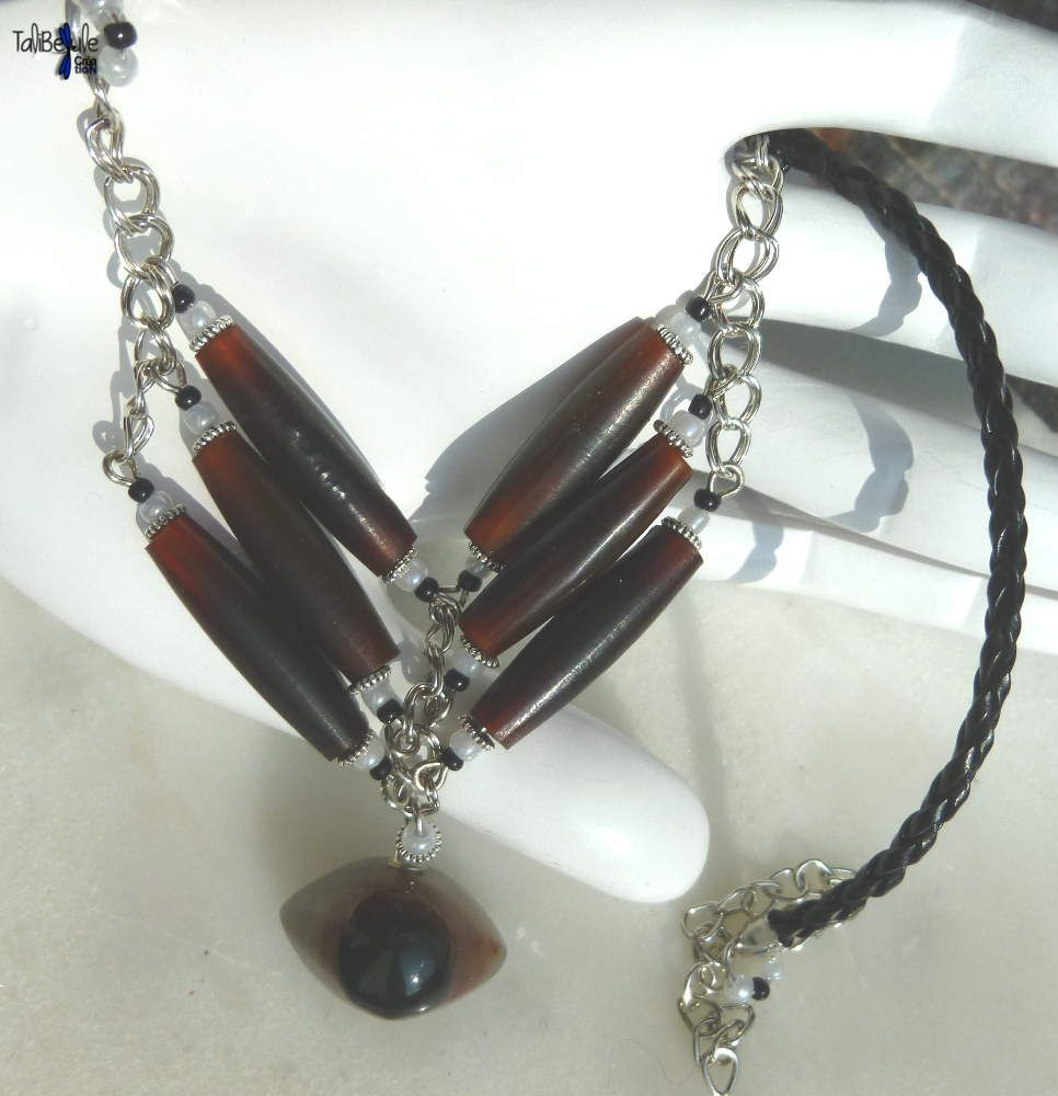 Collier ethnique chic pour homme agate Cyclope