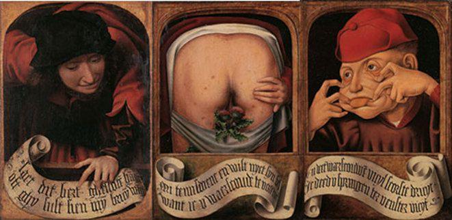 Anonyme flamand, Diptyque satirique, 1520-1530, Université de Liège, © Collections artistique de l'Université de Liège..