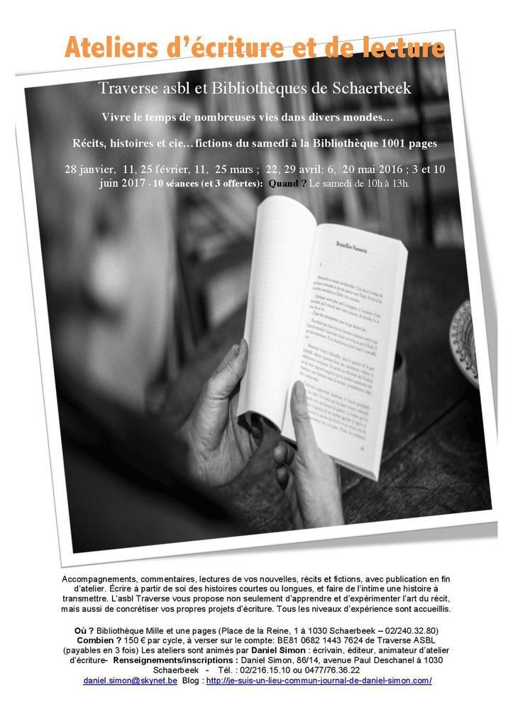 Ateliers d'écriture et de lecture TRAVERSE/ Biblios Schaerbeek