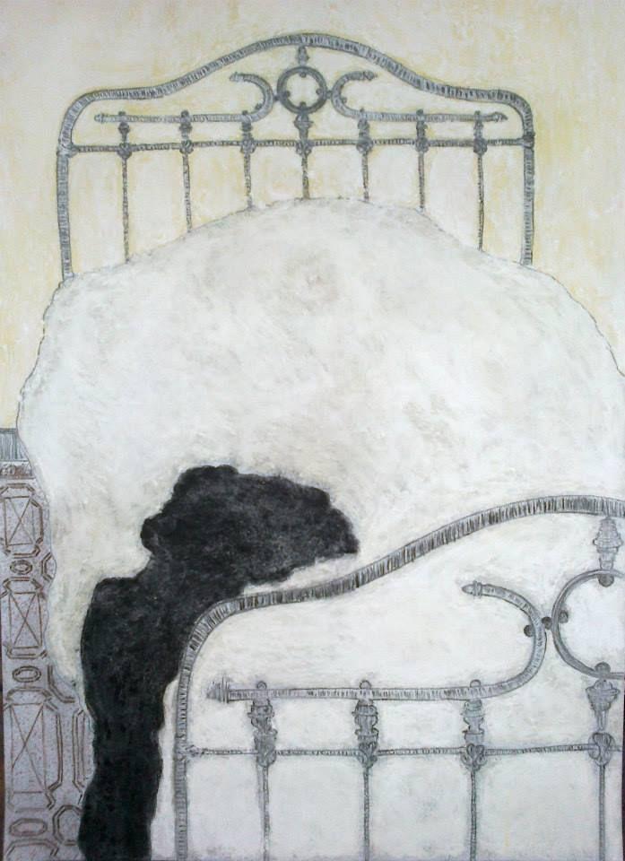 Pascaline Boura 48 x 30  Le terrié   Fusain et pastels