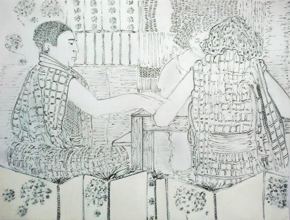 """Pascaline Boura 24 x 32  Crayon à papier et mine graphite  Exercice sur le film """" Voyage à Tokyo """" de monsieur Ozu"""