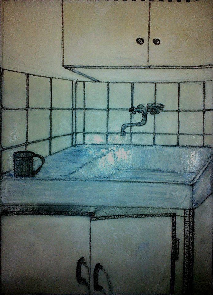 L'évier  48 x 30   Crayon à papier et mine graphite