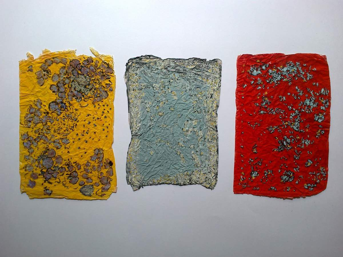 """Pascaline Boura  """" trois petites lettres racontant l'attente du printemps """" . Petit triptyque"""