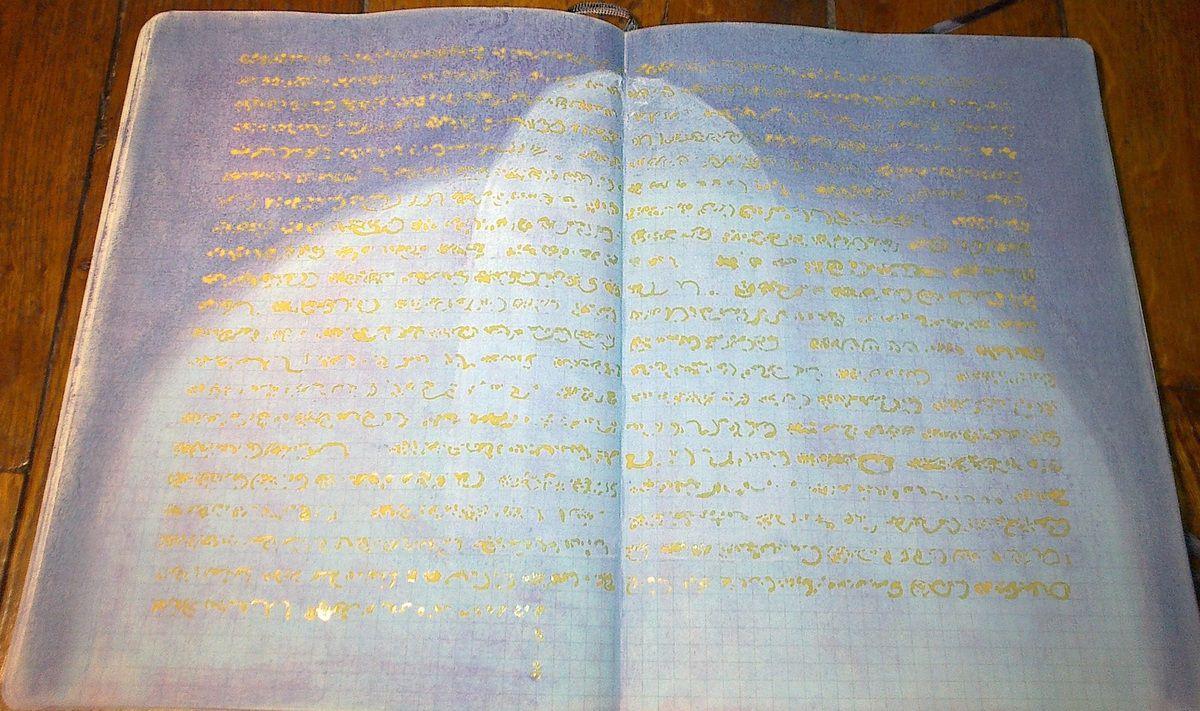 Aquarelles au pinceau sur fond de pastels . 37,5 x 24 . Sur cahier Moleskine