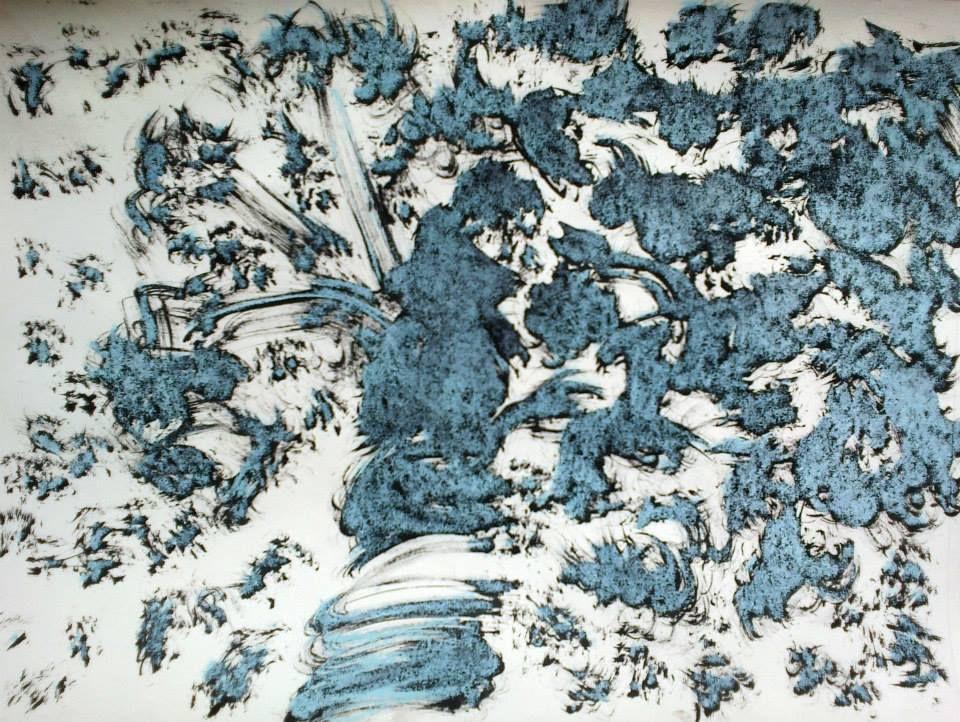 Juillet 2013  21 x 29  Encre de Chine noire et pastels bleus