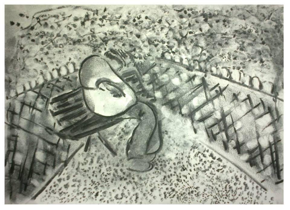 Esquisse au square  - homme qui parle seul -   Fusain   21 x 29