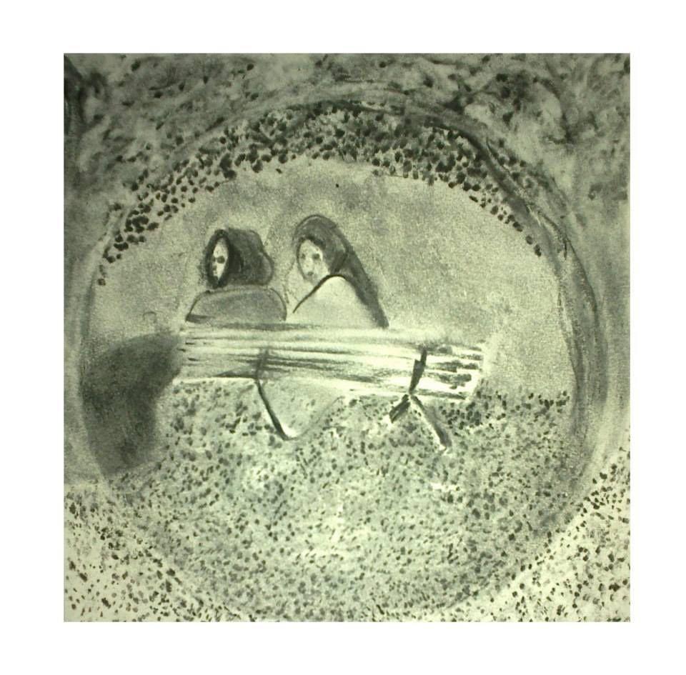 Esquisse au square    - Deux jeunes femmes coiffées d'un foulard - crayon et fusain