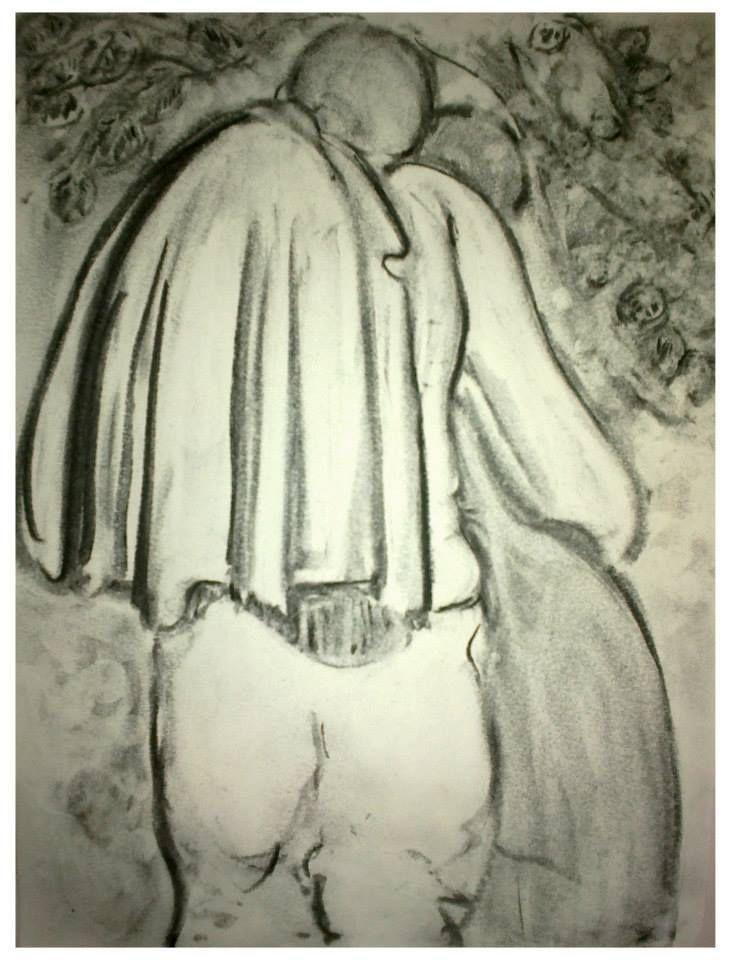 Esquisse au square    - statue -    Fusain   29 x 21