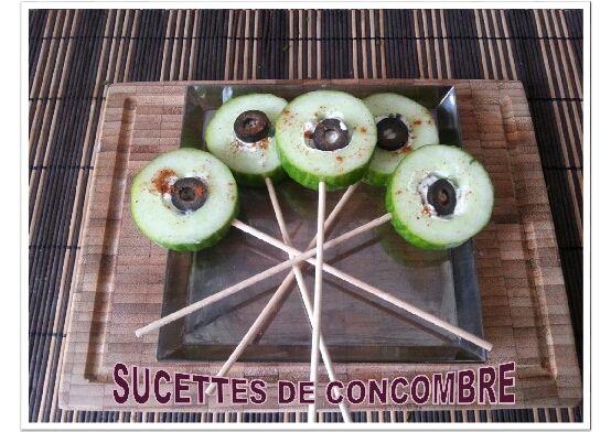 Sucettes de concombre aux olives
