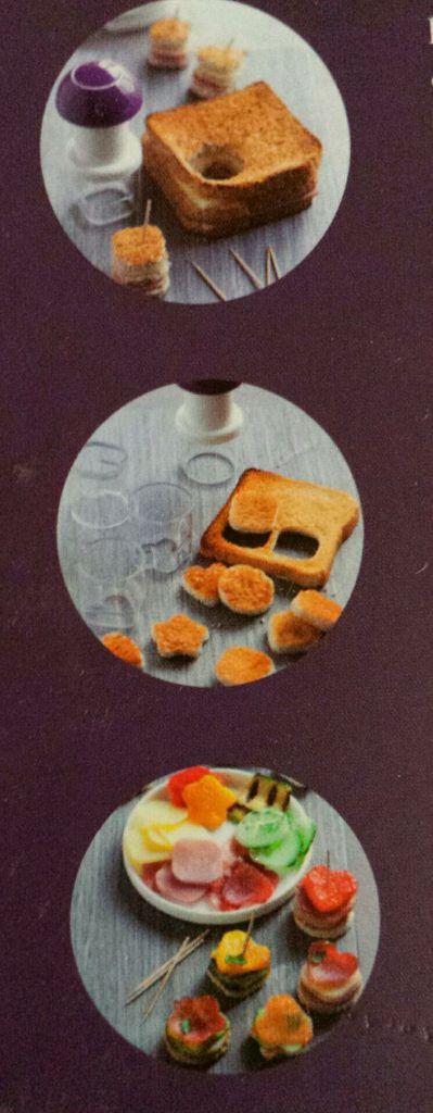 Découper à l'aide des emporte-pièces de la forme de votre choix vos ingrédients :  pain de mie, pain de campagne, toasts, blinis, crudités, charcuterie, oeuf .....  les associer et disposer suivant votre fantaisie pour obtenir de jolis mini sandwichs ou canapés !