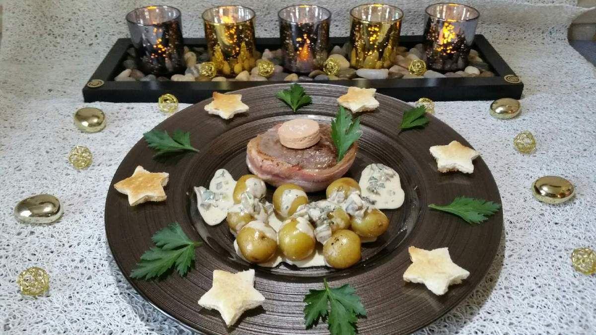 tournedos sauce pleurotes-foie gras et ses pommes de terre grenaille