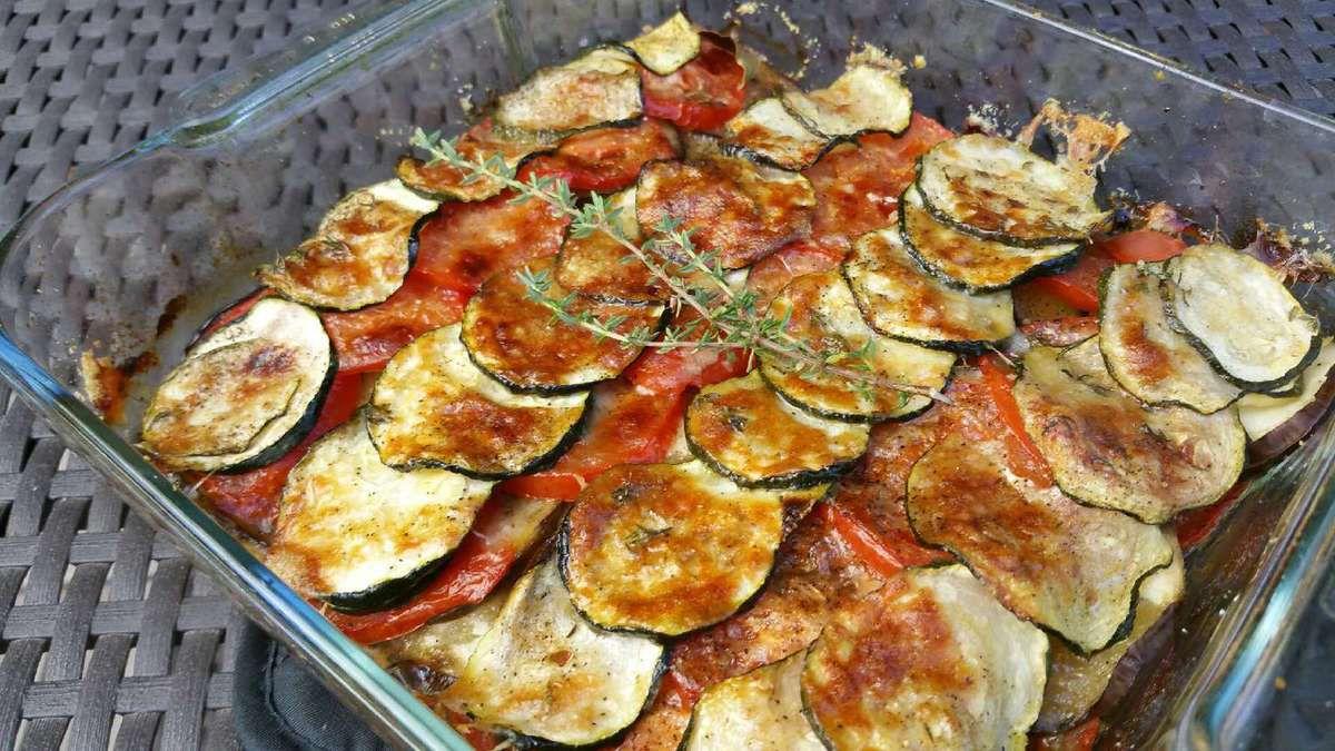 gratin de courgettes, aubergines et tomates au parmesan