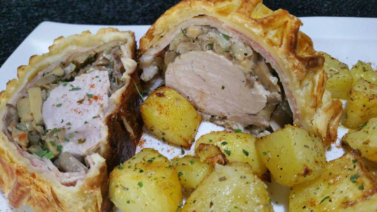 filet mignon façon wellington et pommes de terre au four