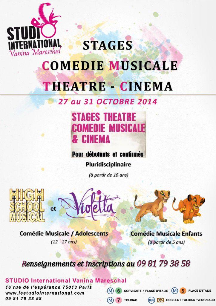 Stages de comédie musicale pour les vacances de la Toussaint