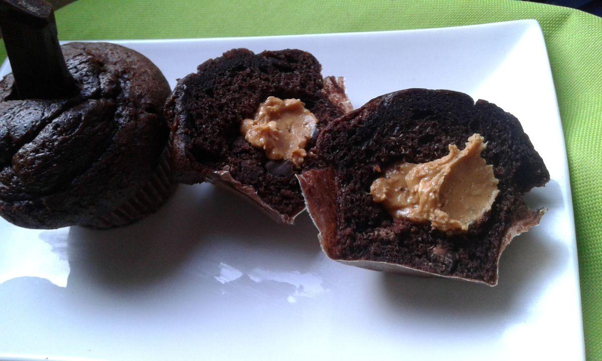 Muffins chocolat noir et beurre de cacahuètes
