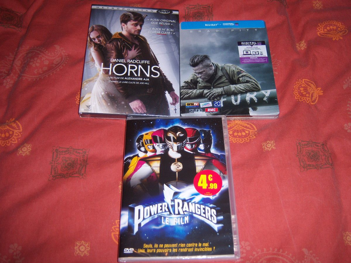Horns en DVD, Fury en BluRay, Power Rangers le film en DVD.