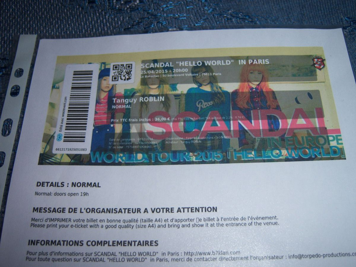 "Ticket ""Hello world"" in Paris - SCANDAL (sous blister mwarf!)"