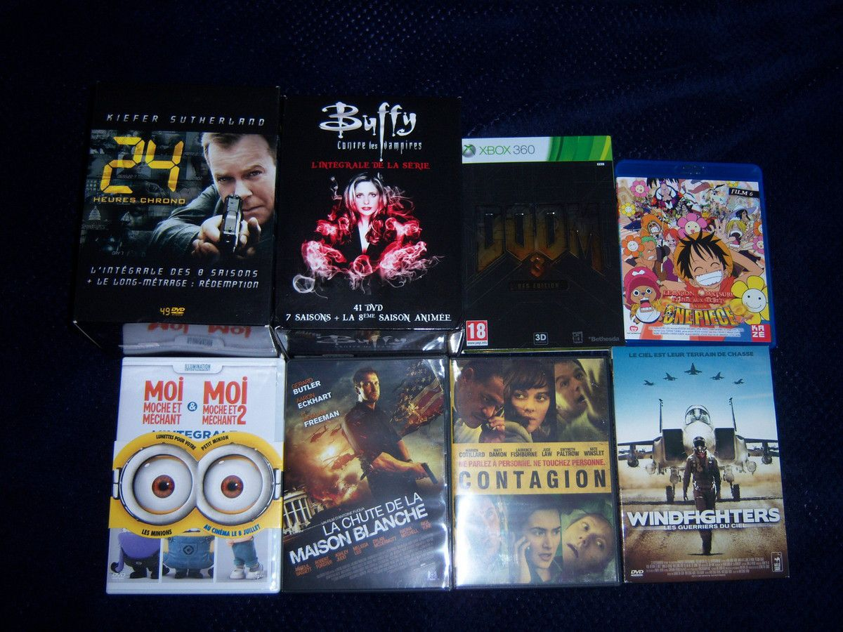 24, Buffy, Les minis films Moi moche et méchant, La chute de la maison blanche, Contagion et Windfighters en DVD, Doom 3 BFG sur XBOX 360 et One piece film 6 en BluRay.