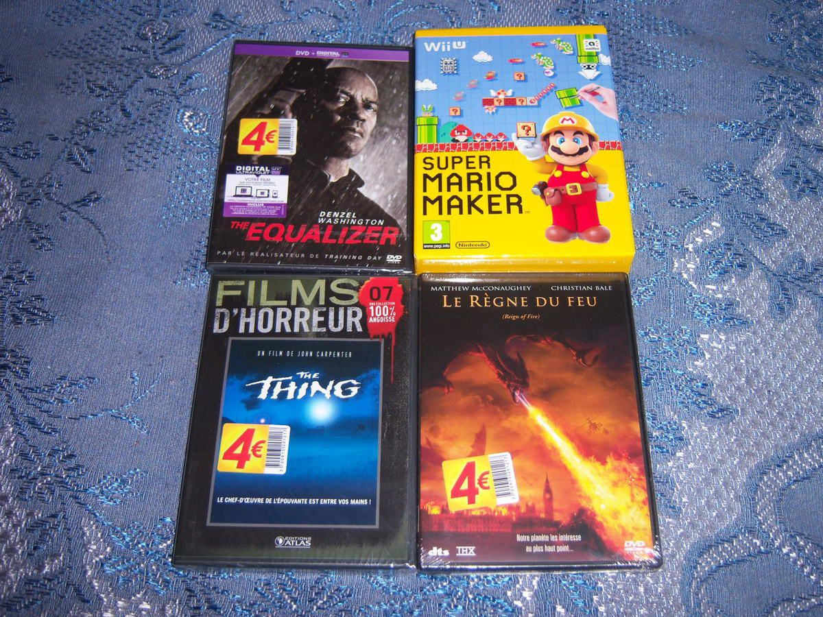 Super Mario Maker WiiU, The Equalizer, The Thing et Le règne du feu en DVD.